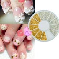 3D Steel Ball Nail Art Studs Gold Silver Nail Glitter Manicure Decoration Tips