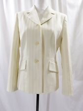Le Suit Petite Women's Cream Striped Career Jacket Petite Size 8P
