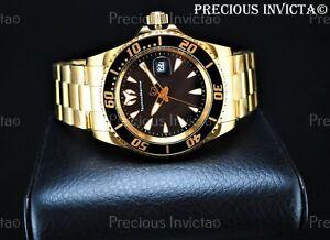 ➤TechnoMarine Men's 42mm MANTA SEA Quartz Gold Tone Black Dial Bracelet SS Watch