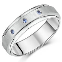 7mm Titanium SAPPHIRE Engagement Wedding Ring Band Three Blue Sapphire Ring