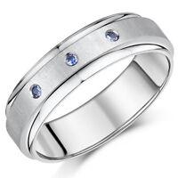 7mm Titanium SAPPHIRE Engagement Wedding Ring Band Three Blue Sapphire Ring