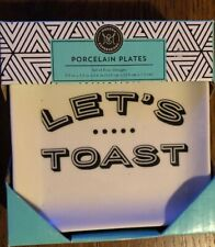 Small Square Dish Plate Modern Expressions Porcelain Plates Let's Toast Set of 4