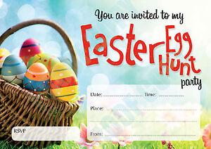 #69 EASTER EGG HUNT Pack of 10 kids children birthday party INVITATIONS