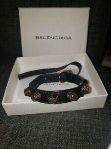 Balenciaga Rose Gold Stud and Black Leather Bracelet Designer Authentic