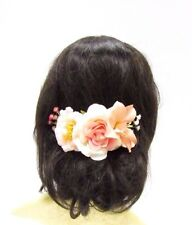 Peach Blush Pink White Rose Flower Hair Comb Bridesmaid Gypsophila Clip Vtg 3027