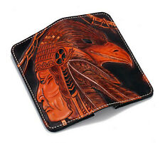 Leather Long Wallet, Hand-Carved, Indian, Red Man, Native American, Crow, Raven