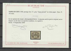 s38507 VATICANO 1946 MNH** Segnatasse Righe larghe carta bianca 6v Raybaudi