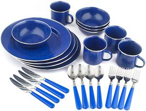 Deluxe 24-Piece Enamel Tableware Set: Plates, Bowls, Mugs & Utensils Camping