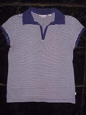 Women's Ashworth Purple & White Striped Golf Polo Shirt Size S