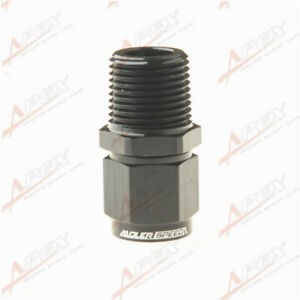 """-6 AN AN6 Female To 3/8"""" NPT Male Aluminum Swivel Fitting Adapter Black"""