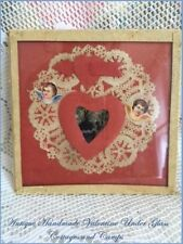 Antique Victorian Valentine Card Glass Frame Cherub DieCuts Silhouette & Doily