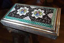 ANTIQUE SILVER & ENAMEL  PERSIAN ISFAHAN VANITY CIGARETTE BOX