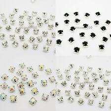 Sew On Cut Glass Silver Setting Rhinestone Diamante Craft Dress Decor Crystals
