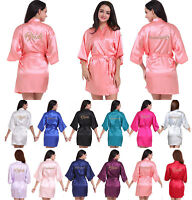 Women Satin silk robes Wedding Robe Bridesmaid Bride maid of honor Dressing Gown