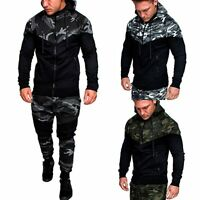 Men's Winter Slim Hoodie Camouflage Hooded Sweatshirt Coat Jacket Outwear Tops
