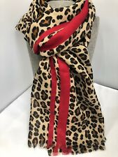Gorgeous large Leopard print Scarf Brown tones with Red stripe wrap animal Black