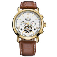 Classic Men's Skeleton Tourbillon Mechanical Automatic Brown Leather Wrist Watch