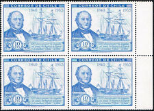 CHILE 1966 STAMP # 697 MNH BLOCK OF FOUR SHIP W. WHEELWRIGHT