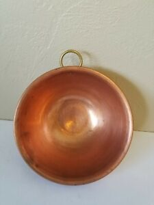 """Vintage Solid Copper 8.5"""" Round Mixing Bowl Round - Heavy Rolled Rim Brass Ring"""