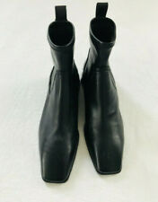 Zara Womens Size US 6  Euro 36 Leather Square Toe Flat Ankle Boots Black Pull On