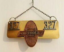 Vintage Chevrolet Automobile Grill Radiator Emblem 327 Wall Plaque Brass Mount