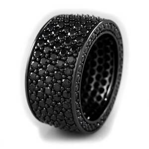 18K Black Gold Out Iced CZ 11mm Gunmetal ETERNITY Wedding Micropave Men's Ring