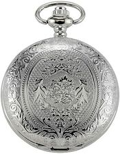 Silver Color Vintage Quartz Pocket Watch With Chain