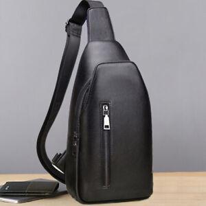 Black Sling Backpack Mens Genuine Leather Crossbody Chest Bag Sling Shoulder Bag