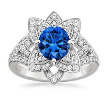 14K White Gold Real 1.91 Ct Diamond Certified Natural Blue Sapphire Wedding Ring