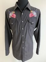 Ely Cattleman Men's Embroidered Eagles USA Western Pearl Snap Cowboy Shirt XXL