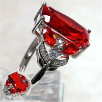 Women Luxurious 925 Silver Large Red Ruby Band Size 6-10 Jewelry Ring Wedding