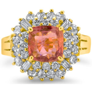 Certified 2.80cttw Pink Sapphire 1.45cttw Diamond 14KT Yellow Gold Ring