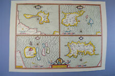 Vintage sheet map of The Channel Islands Jersey Guernsey Farne circa.1662