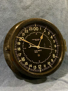 """** Fully Restored** 1944 WWII US NAVY 24hr. Chelsea Ships Clock 8.5"""" Dial"""