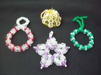 Vintage Beaded Christmas Ornaments Lot of 4 Handmade Beaded Christmas Ornaments