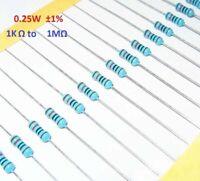 7000PCS 1/4W 0.25W Metal Film Resistor ±1% - Range of Values (1KΩ to 1MΩ)