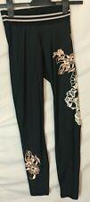 H&M SPORT Leggings ~ Size XS  6 8 ~ Black ~ Pink Floral ~ankle length Stretch ~H