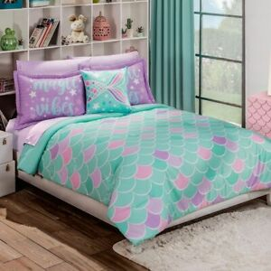 Girls Mermaid Green with Purple Reversible Comforter Set by Intima Hogar