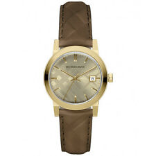 Burberry Women's Swiss The Classic Gold Tone Brown Check Leather Watch BU9153