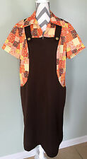 Vintage 70s Brown Overall Polyester Patchwork Jumper Jumpsuit Dress Sz 20.5 EUC