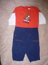 "Size 0-3 month boys cotton outfit-Old Navy ""Down Hill Dawg"" top & blue pants"