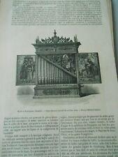 Orgue portatif Allemand du 16ème Gravure Old Print 1876