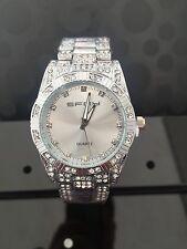 Luxury Men's Diamond cadran Quartz Argent Montre Bracelet hiphop bling iced out WOW