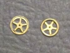 2 OLD TIME BRAKE WHEEL (STAMPED) BRASS  BY MANTUA FOR MANTUA & TYCO HO SCALE NEW