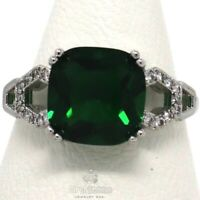 Antique Princess Green Emerald Solitaire Ring Women Nickel Free Jewelry