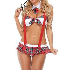 Neu Sexy Damen Student Uniform Lingerie Costume Cosplay Nachtwäsche weiß Red
