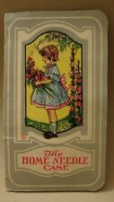 Little Girl With Hollyhock Flowers Vintage Sewing Needle Folder,Peerless Sharps