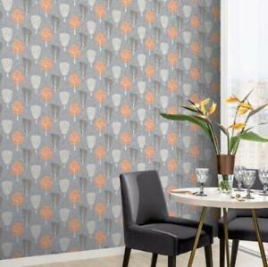 Grey and Orange Retro Tree Wallpaper by Arthouse 902400