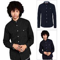 Brave Soul Mens Borgia Shirt Button Down Casual Chambray Cotton Long Sleeve Top