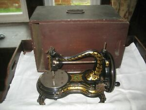 Cased Antique Jones Hand Crank Swan Neck/Serpentine Sewing Machine